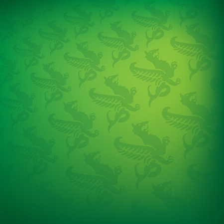 Green background with dragon shapes Vector