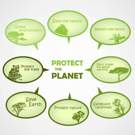 Set of protect the planet green text bubbles