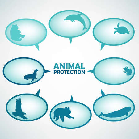 Set of animal protection turquoise text bubbles Stock Vector - 16228656