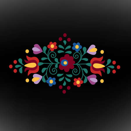 Hungarian folk ornament on black background Illustration