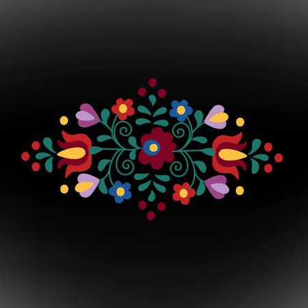 hungarian: Hungarian folk ornament on black background Illustration