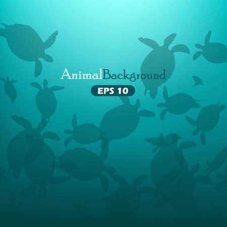 Animal background with turtles Illustration