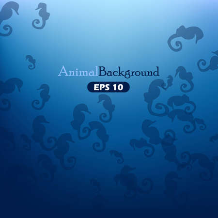 Animal background with seahorses Illustration