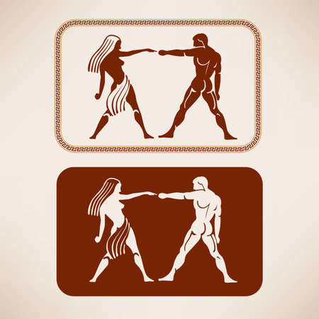 man and women wc sign: Ancient Greek restroom symbols