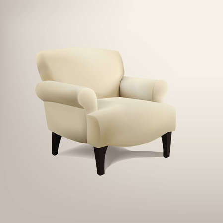 Retro cream colored armchair Vector