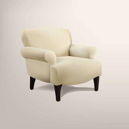Retro cream colored armchair Illustration