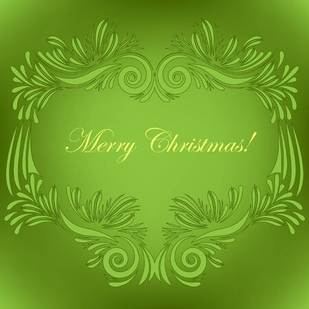 Christmas greeting card on green Stock Vector - 16429466