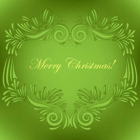 Christmas greeting card on green Stock Vector - 16429466