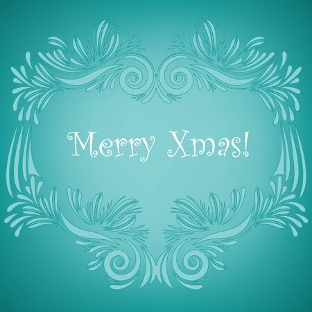Merry Xmas greeting card on turquoise Stock Vector - 16429464