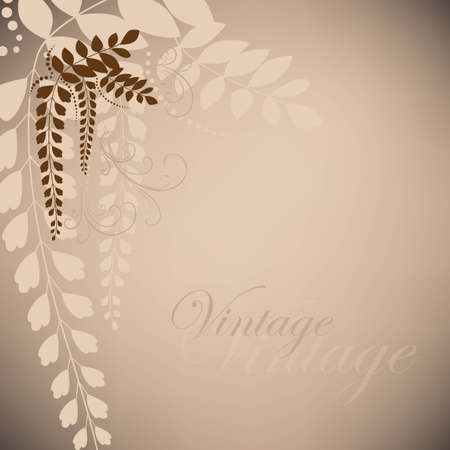 Brown vintage with acacia flowers Vector