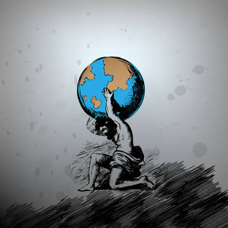 Atlas supporting the Earth Illustration