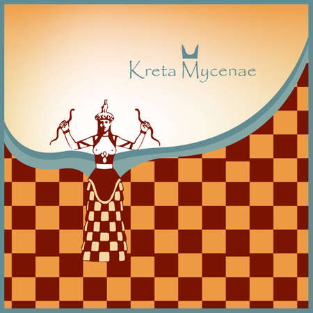Crete Mycenae card with snake goddess Stock Vector - 16429530