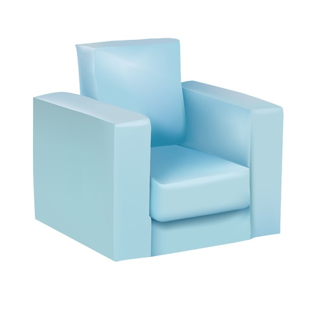 Blue armchair on white