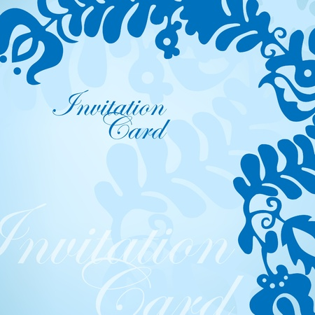 Blue invitation card with ornament Stock Vector - 16513161