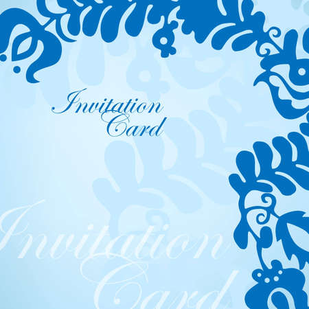 Blue invitation card with ornament