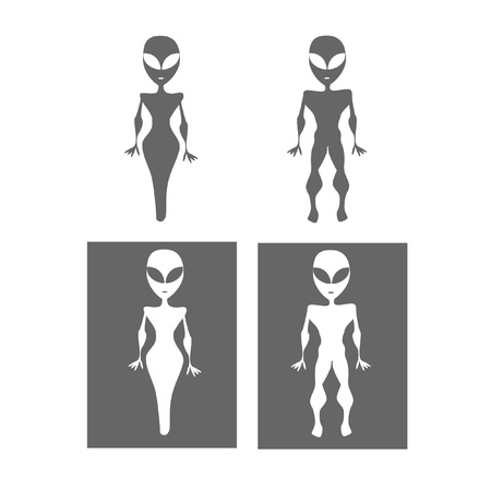 restroom sign: Alien restroom symbols
