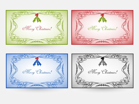 Holiday cards in four color variations Stock Vector - 16555293