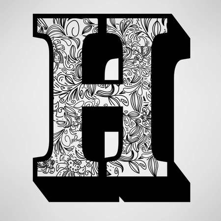 Letter H - Ornamental Initial  Illustration