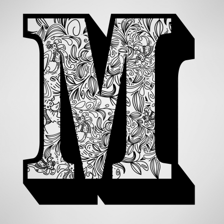 Letter M - Ornamental Initial  Illustration