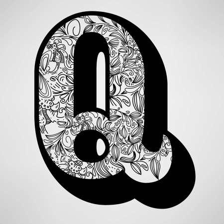 Letter Q - Ornamental Initial  Vector