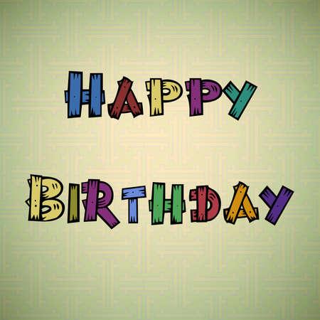 subtitle: Happy birthday colorful wooden subtitle