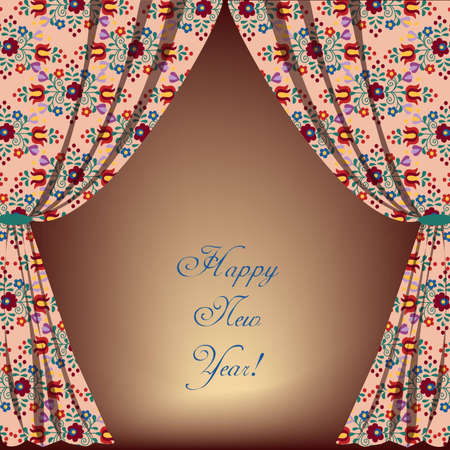 Embroidery curtain with message Vector