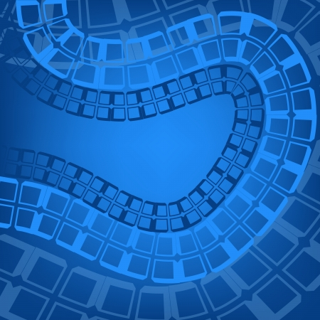 Blue abstract background with rails