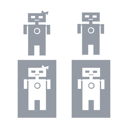 Robot restroom symbols Illustration