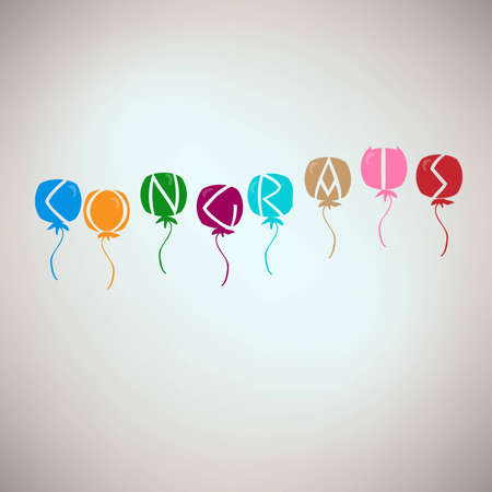 Congrats card with balloons Stock Vector - 17092438