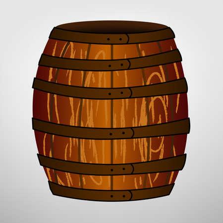 distillery: Cartoon brown barrel Illustration