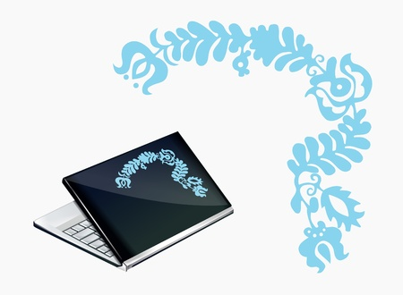 Notebook decoration with blue Hungarian pattern Stock Vector - 17310390