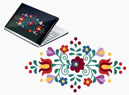 macar: Güzel Macar nakış desenli dizüstü dekorasyon Çizim