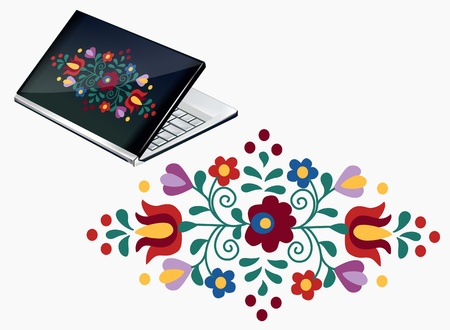 Notebook decoration with beautiful Hungarian embroidery pattern Illustration