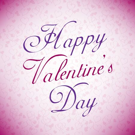 Pink Happy Valentine s day card with hearts