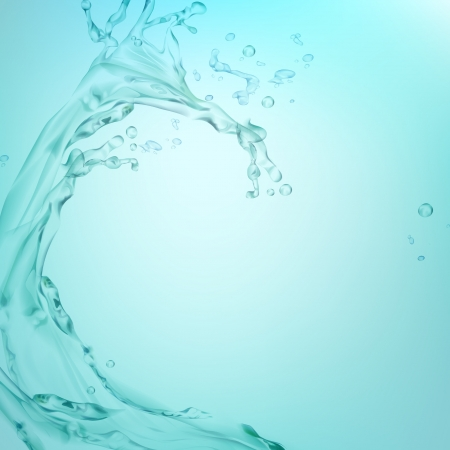 fresh water splash: Illustration von Spritzwasser auf t�rkisfarbenen Hintergrund