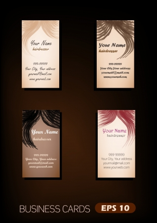 Vector business cards for hairdressers