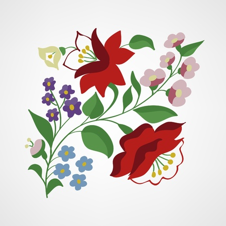 Little Hungarian folk embroidery pattern Vector