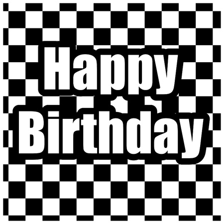 wingding: Black and white happy birthday card