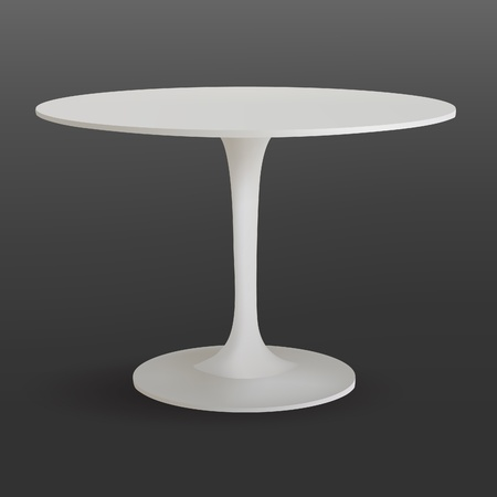 Modern white rounded table on gray Illustration