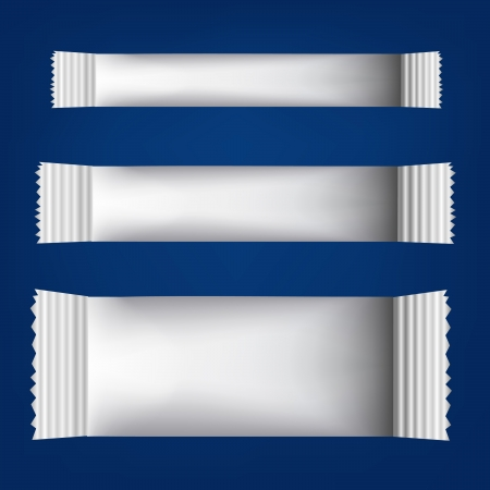 Three white Blank Foil Packaging for Your chocolate paper Design on blue background