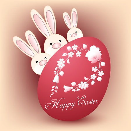 Happy Easter card with three bunnies and red egg Vector