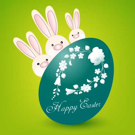Happy Easter card with three bunnies and turquoise egg on green Vector