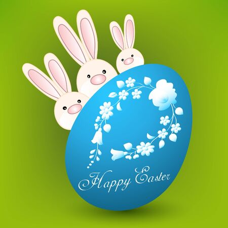 Happy easter card with three bunnies and blue egg on green Vector