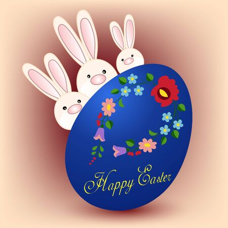 Happy Easter card with three bunnies and colorful egg