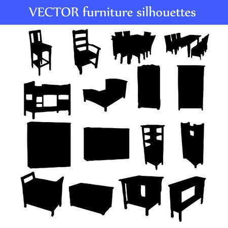 Set of different furniture silhouettes illustration Vector