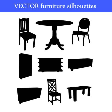 Set of different furniture silhouettes illustration Stock Vector - 18455388