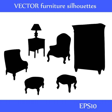 Set of different furniture silhouettes illustration Illustration