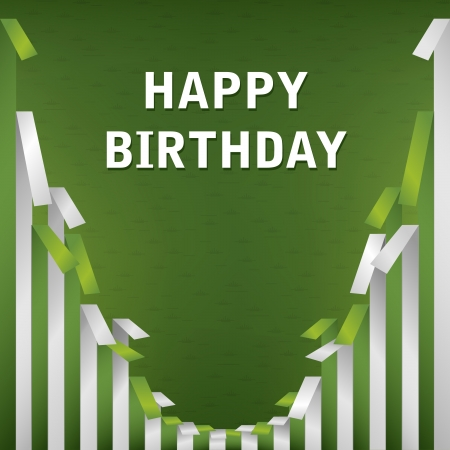 Green and white Happy birthday greetings Illustration