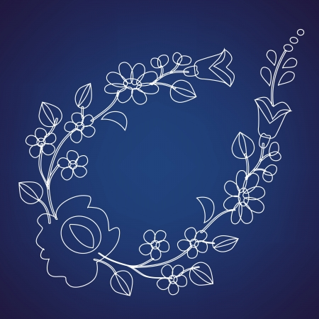 Kalocsai pattern outline on blue Vector
