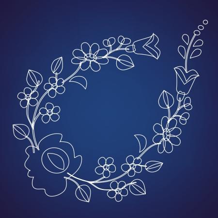 Kalocsai pattern outline on blue